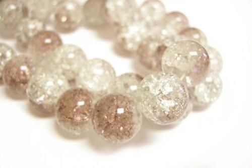 10pc 14mm brown and clear crackle glass beads-9346