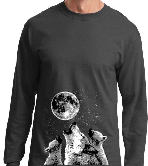 100/% Cotton Slim Fit Full Moon Wolf Howl Women V Neck T Shirt