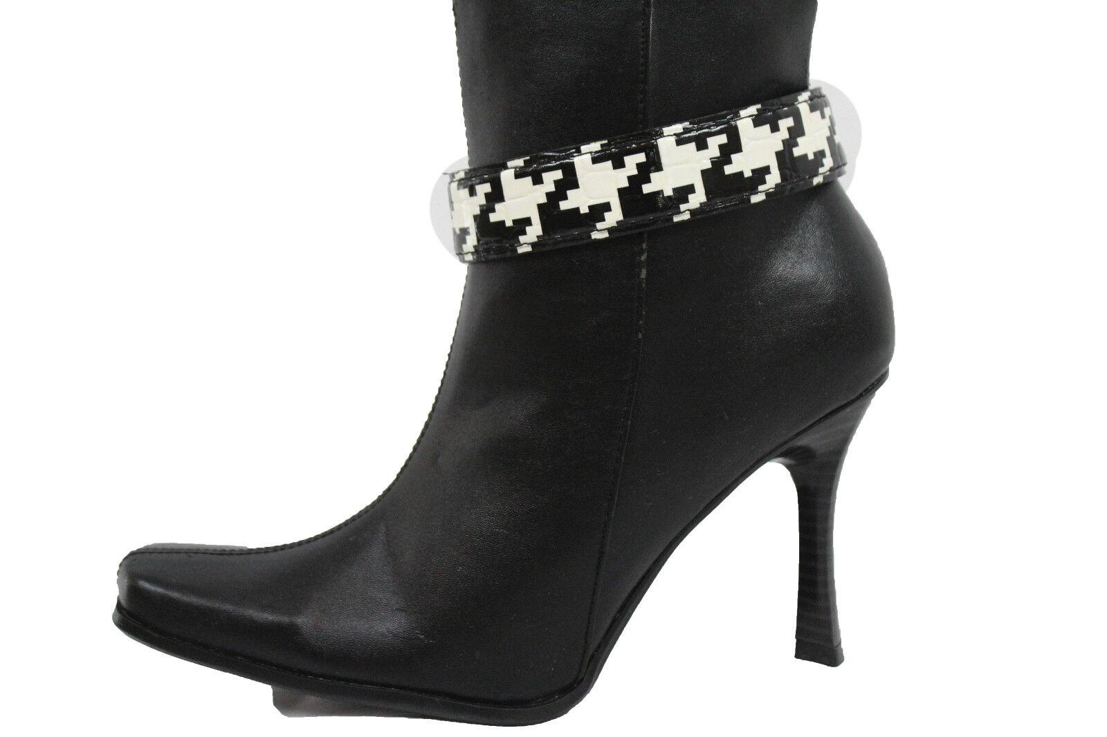 Women Black White Faux Leather Strap Pewter Chain Boot Bracelet Shoe Charm Print