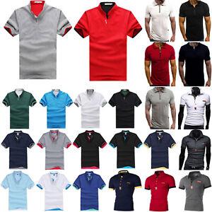 Mens-Short-Sleeve-Golf-Sport-Polo-Shirt-Slim-Summer-Casual-Jersey-Tops-T-Shirts