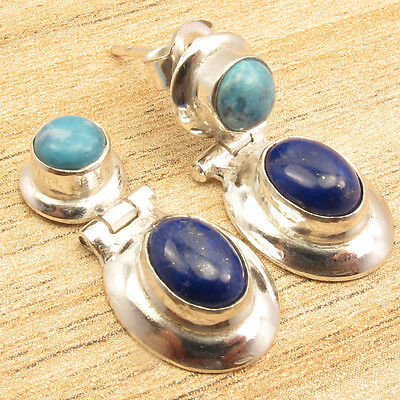 LARIMAR & LAPIS LAZULI 2 STONE CUTE STUD Earrings 1 Inch ! Silver Plated Jewelry