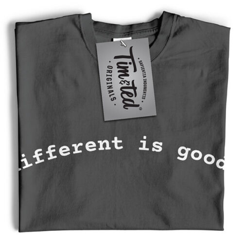 "Novità Slogan T Shirt /""diversi è buono/"" Unique strano SPECIALE Divertente Happy"