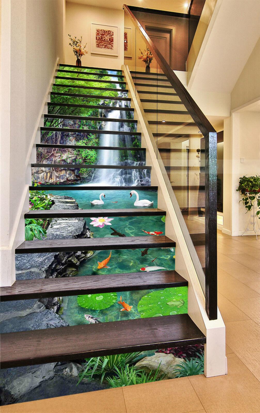 3D Grn Wald 864 Stair Risers Dekoration Fototapete Vinyl Aufkleber Tapete DE