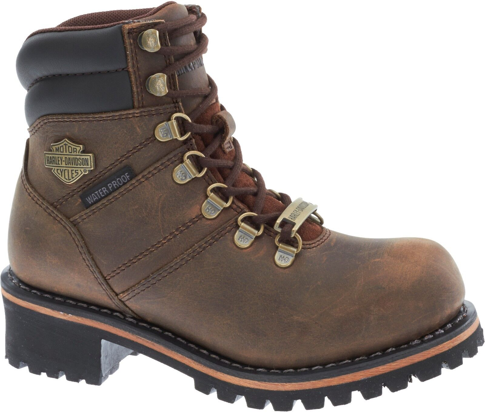 Harley-Davidson Women's Ladson Waterproof Brown Leather Motorcycle Boot D87104