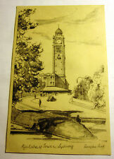 B&W Art Postcard of Railway Tower in Sydney, Australia from Mid 1900's
