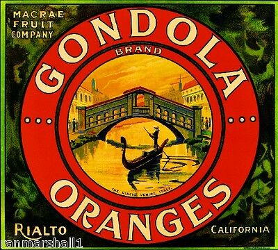 Rialto Italy Venice Italian #2 The Rialto Orange Citrus Fruit Crate Label Print