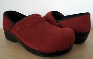 LANDS-END-Womens-Red-Suede-Leather-Clogs-Slip-On-Loafers-Shoes-Heels-Size-10-B