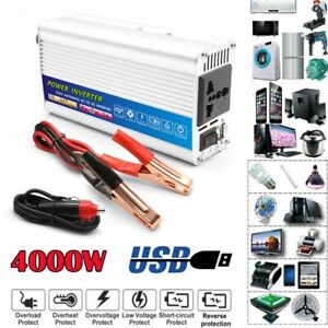 Car Power Inverter 4000W Peak DC 12V To AC 110V Sine Wave