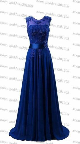 Long Chiffon Lace Evening Formal Party Gown Ball Prom Bridesmaid Dress Size 6~22