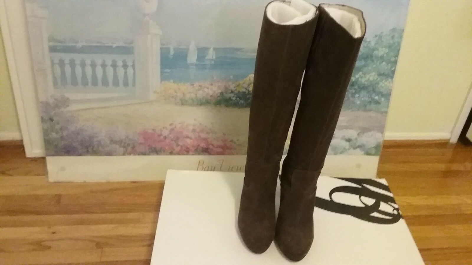 Dark Brown suede Nine West Number One dressy tall boots with back zipper