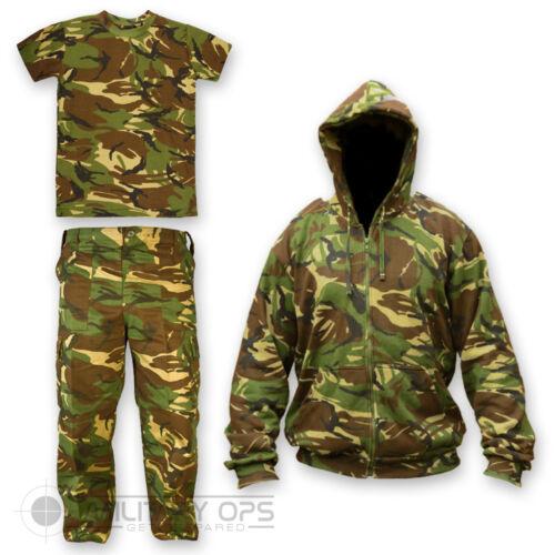 KIDS CHILDRENS DPM CAMO SET T SHIRT TROUSERS HOODIE SOLDIER 95 BRITISH ARMY