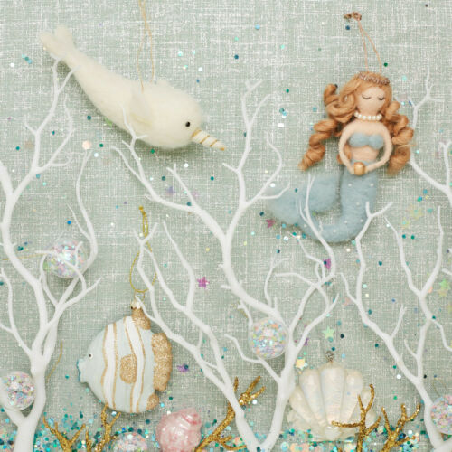 Golden Pearl Mermaid Felt Hanging Christmas Tree Decoration by Sass /& Belle