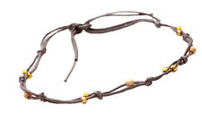 Gorgeous & minimal clear yellow & brown beads/dark green strand necklace(ZX269)