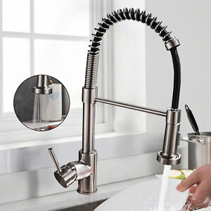 Pull Down Kitchen Faucet with Sprayer Stainless Steel Single Handle High Arc