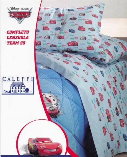 Completo Letto CALEFFI Lenzuola cotone 1 Piazza e mezza DISNEY CARS TEAM 95