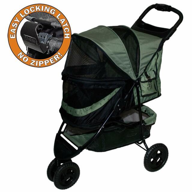 Pet Stroller Large Dog Cat Carrier Best Heavy Duty Travel 45 Lbs No-Zip w/ Latch