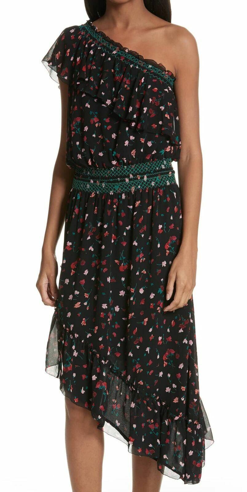 NEW Joie Floral Asymmetric Silk Dress in schwarz Multi - Größe S  D2137
