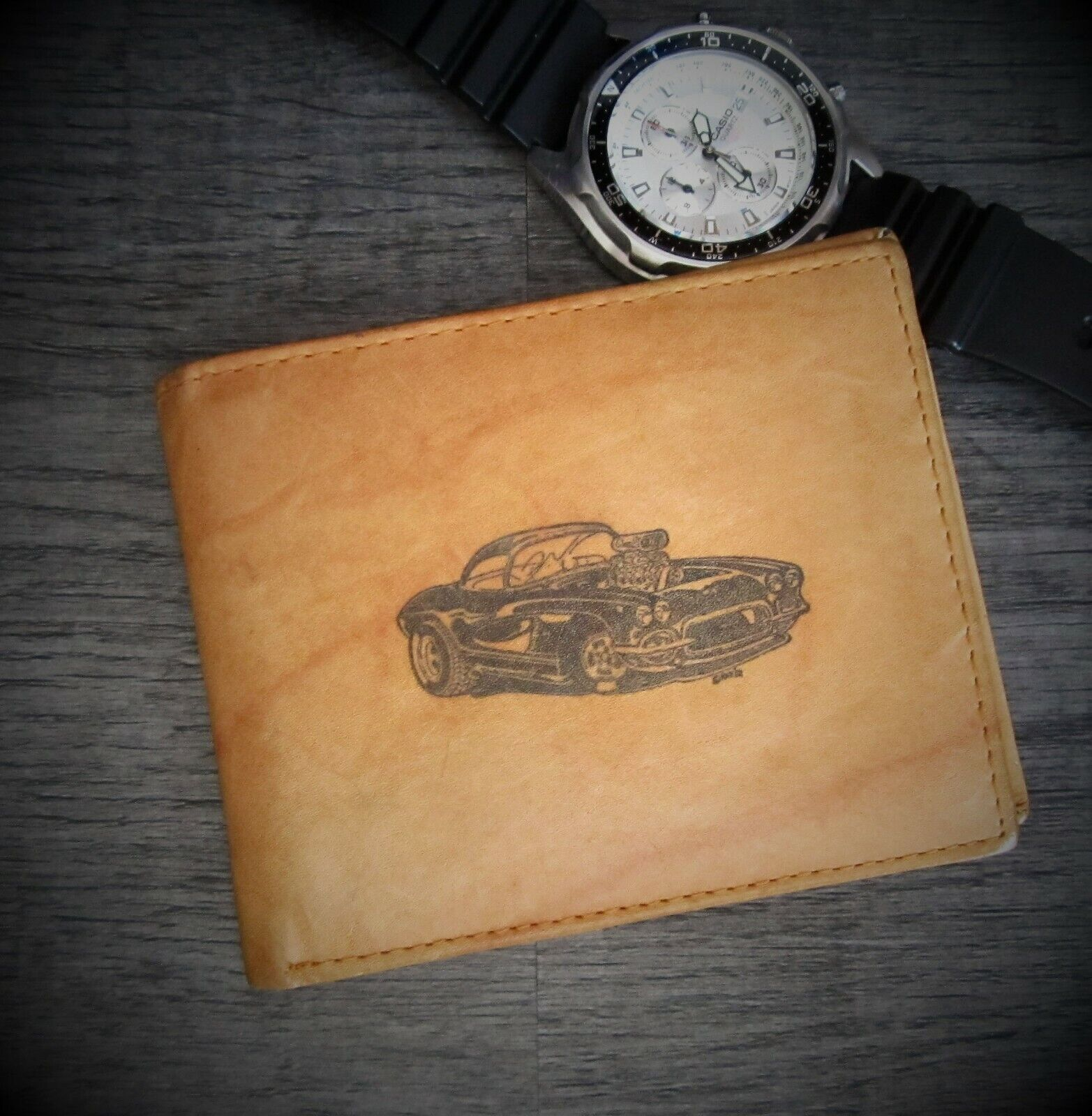Mens Custom Bifold Leather Wallet 62 CHEVY CORVETTE PRO STREET Image*Great Gift