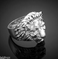 Sterling Silver Lion Head Mens Ring