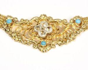 14kt-585-antikes-Biedermeier-Gold-Collier-Tuerkise-Ziersteine-Goldcollier-ANTIK