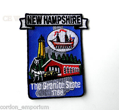 US NEW HAMPSHIRE STATE NAME MAP EMBROIDERED PATCH 3 inches