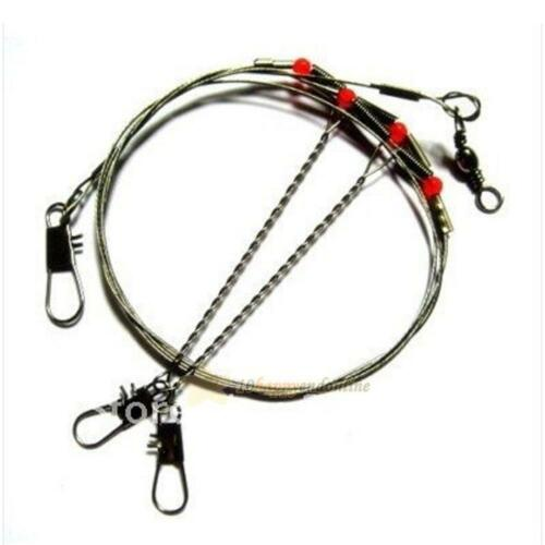 Set Durable 2 Arm Stainless Steel Fishing Wire Trace Leader W// Rigs Swivels Snap
