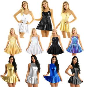 Women-Lady-Shiny-Metallic-Flare-Skater-Dress-Night-Club-Party-A-Line-Short-Skirt