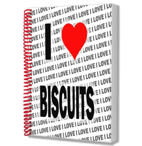 I Love Biscuits A5 Notebook Pad Diary Drawings Birthday Christmas Gift