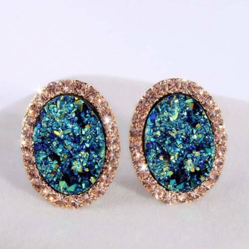 Moda Mujer Aretes Oval Zafiro Diamantes de Imitación Boda Pendiente Joyería
