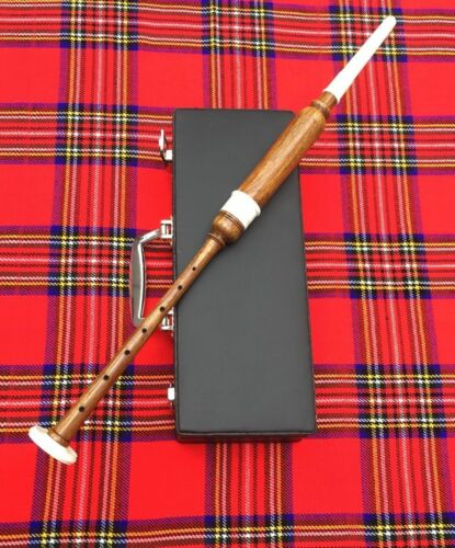 Great Highland Bagpipe Practice Chanter Brown Imattion Hard Case Bagpipes Reeds