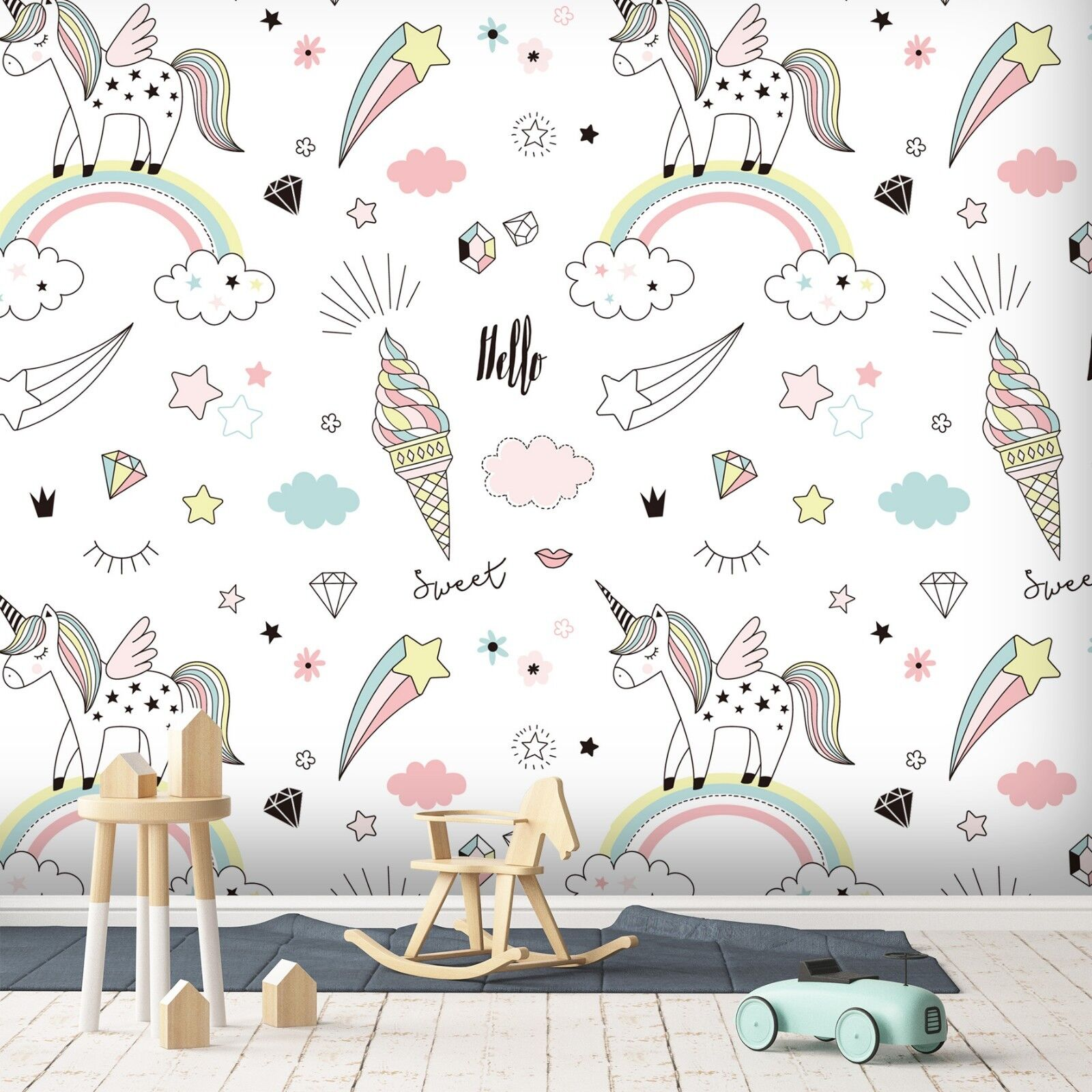 3D Unicorn Rainbow 914 Wallpaper Mural Paper Wall Print Indoor Murals CA Summer