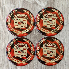 Red Amp Gold Cadillac Dayton Wire Wheel Chips Emblems Decals Set Of 4 Size 275in