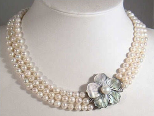 "3 rangées 7-8 mm Naturel Blanc Akoya Cultured Pearl Necklace 17-19/"" Shell Fermoir AAA"