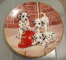 Princeton Firehouse Frolic Dalmatian Firefighter Collectible Plate 1992