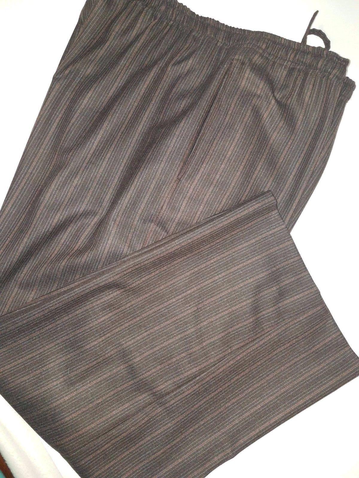 ESKANDAR 2 Neiman Marcus Pants 100%Wool Striped Relaxed Elastic Waist Drawstring
