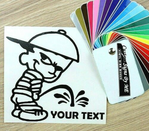 Funny Personalised Peeing Boy With Your Text Car Sticker Vinyl Decal Adhesive BL