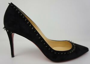 super popular a6c4b cc81a Details about Christian Louboutin Anjalina Black Suede Pointy Toe Spike  Pump Heels Size 38