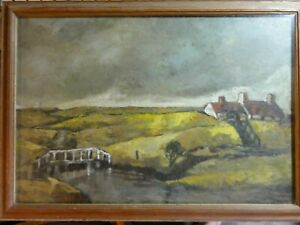 Old-Original-Landscape-Oil-Painting-with-a-house-and-river