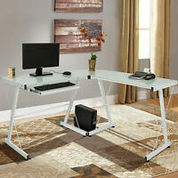L-shape Computer Desk Pc Glass Laptop Table Workstation Corner Home Office White on sale