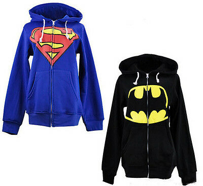 Unisex Superman Batman Cosplay Printed Hoodies Coat Jacket Hooded S-XL