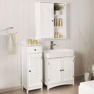 Détails sur SONGMICS Armoire de salle de bains en bois blanc Meuble de  rangement
