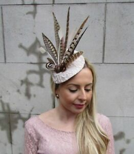 Image is loading Large-Beige-Cream-Brown-Pheasant-Feather-Hat-Fascinator- ae65287915d