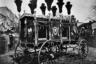 New 5x7 Photo Illinois President Abraham Lincoln Hearse in Springfield