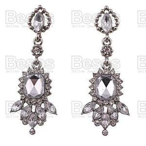 "2""long SILVER TONE RHINESTONE crystal DROP EARRINGS vintage style art deco GIFT"