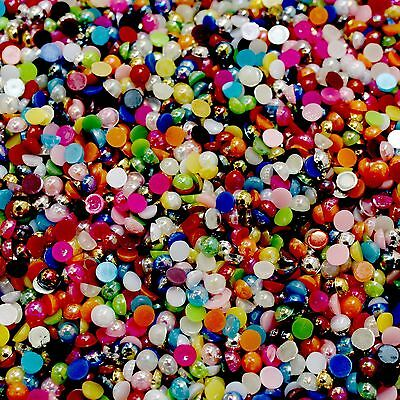 1000 AB Half Pearl Beads Flat Back Craft Scrapbooking Choose Your Color And Size