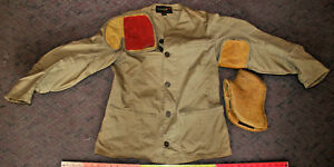 fae7ea0bf3c07 Image is loading Vintage-10X-Cotton-Shooting-Jacket-Leather-Shoulder-Pads-
