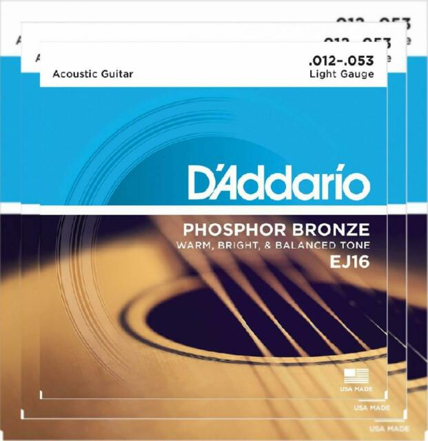 D'Addario EJ16 Phosphor Bronze Acoustic Guitar Strings, Light, 12-53 1-Pack