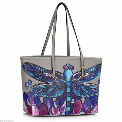 Lady New Dragonflies Print Tote Bag Women Stylish Faux Leather Shoulder Bags
