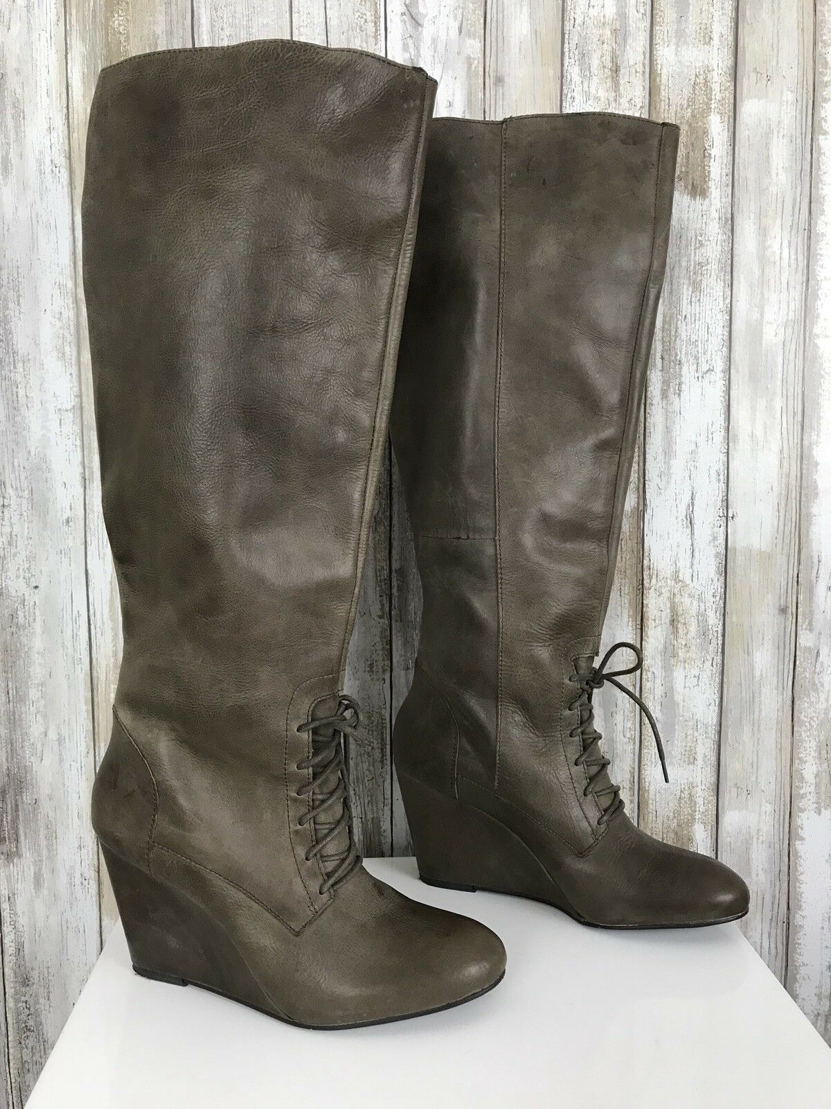 Steve Madden LUXE Taupe Light Brown Tall Leather Lacer Up Pull On Wedge Boots 9
