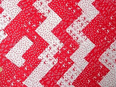30 X 4 INCH SQUARES COTTON PATCHWORK FABRIC CHARM PACK WHITE RED